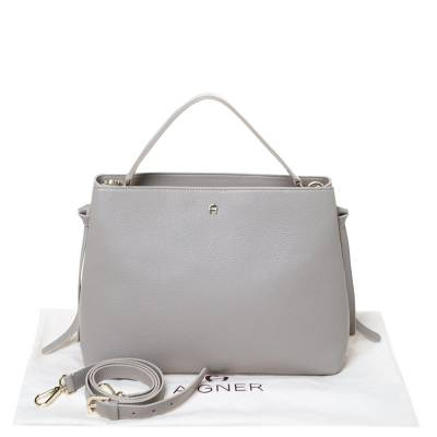 Aigner Grey Leather Top Handle Bag 292769 - 9