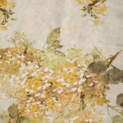 Roberto Cavalli Yellow Floral Foil Print Fringed Cashmere & Silk Scarf 292566 - 1