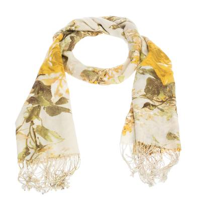 Roberto Cavalli Yellow Floral Foil Print Fringed Cashmere & Silk Scarf 292566 - 2
