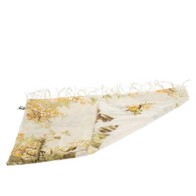 Roberto Cavalli Yellow Floral Foil Print Fringed Cashmere & Silk Scarf 292566 - 3