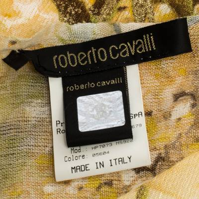 Roberto Cavalli Yellow Floral Foil Print Fringed Cashmere & Silk Scarf 292566 - 4