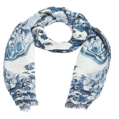 Roberto Cavalli White & Blue Floral Print Linen Giant Scarf 292567 - 2