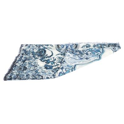 Roberto Cavalli White & Blue Floral Print Linen Giant Scarf 292567 - 3