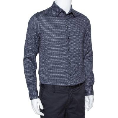 Armani Collezioni Navy Blue Printed Cotton Knit Long Sleeve Shirt L 294249 - 1