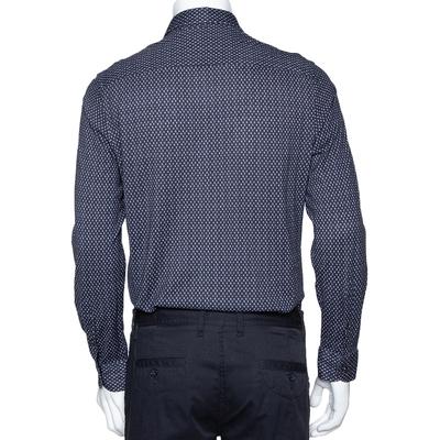 Armani Collezioni Navy Blue Printed Cotton Knit Long Sleeve Shirt L 294249 - 2