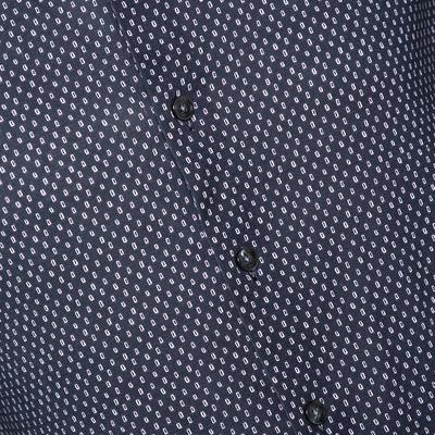 Armani Collezioni Navy Blue Printed Cotton Knit Long Sleeve Shirt L 294249 - 3
