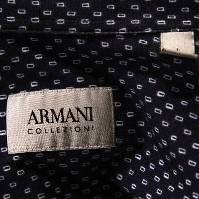 Armani Collezioni Navy Blue Printed Cotton Knit Long Sleeve Shirt L 294249 - 4