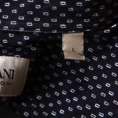 Armani Collezioni Navy Blue Printed Cotton Knit Long Sleeve Shirt L 294249 - 5