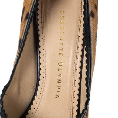 Charlotte Olympia Brown/Black Calfhair and Leather Daphne Peep Toe Platform Pumps Size 37.5 294538 - 6