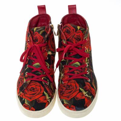 Dolce&Gabbana Red/Black Rose Print Canvas High Top Sneakers Size 40 294479 - 2