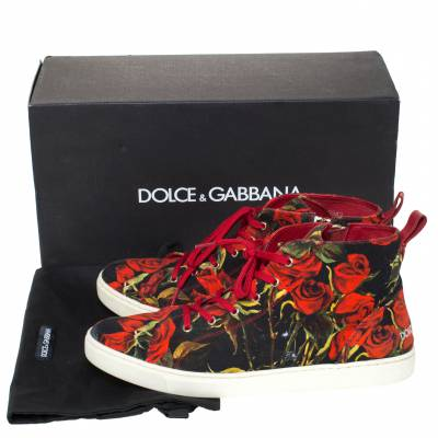 Dolce&Gabbana Red/Black Rose Print Canvas High Top Sneakers Size 40 294479 - 8