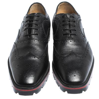 Christian Louboutin Black Brogue Leather Charlie Me Oxfords Size 43 294629 - 2
