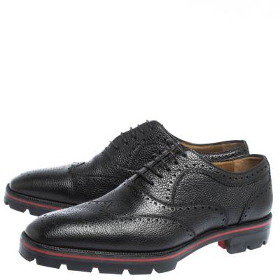 Christian Louboutin Black Brogue Leather Charlie Me Oxfords Size 43 294629 - 3