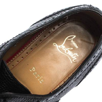 Christian Louboutin Black Brogue Leather Charlie Me Oxfords Size 43 294629 - 6
