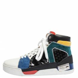 Christian Louboutin Multicolor Leather and Suede Loubikick High Top Sneakers Size 43 294622
