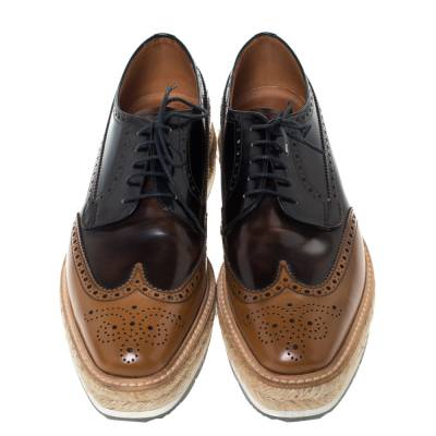 Prada Two Tone Brogue Leather Wingtip Platform Sneakers Size 41 294470 - 2