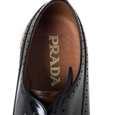 Prada Two Tone Brogue Leather Wingtip Platform Sneakers Size 41 294470 - 6