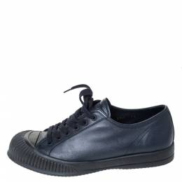Prada Sport Black Leather Low Top Lace Up Sneakers Size 41.5 294471