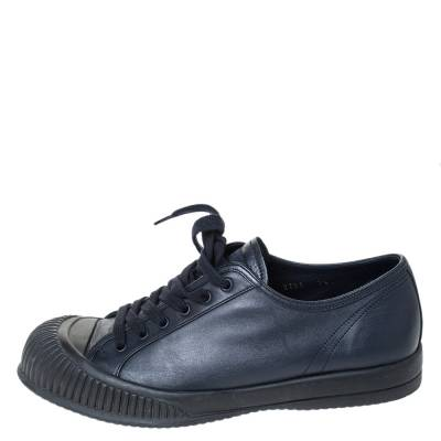 Prada Sport Black Leather Low Top Lace Up Sneakers Size 41.5 294471 - 1
