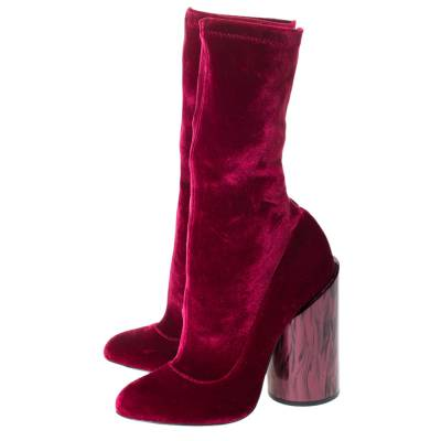 Givenchy Red Velvet Mother Of Pearl Block Heel Mid Calf Boots Size 38 294473 - 3