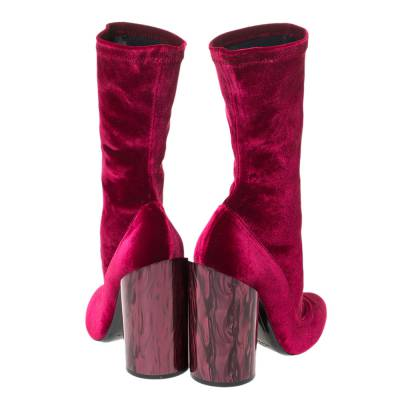 Givenchy Red Velvet Mother Of Pearl Block Heel Mid Calf Boots Size 38 294473 - 4