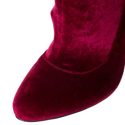 Givenchy Red Velvet Mother Of Pearl Block Heel Mid Calf Boots Size 38 294473 - 6
