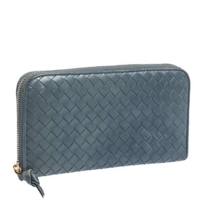Bottega Veneta Blue Intrecciato Leather Zip Around Wallet 294751 - 2
