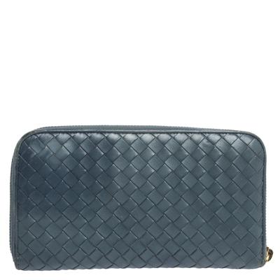 Bottega Veneta Blue Intrecciato Leather Zip Around Wallet 294751 - 3