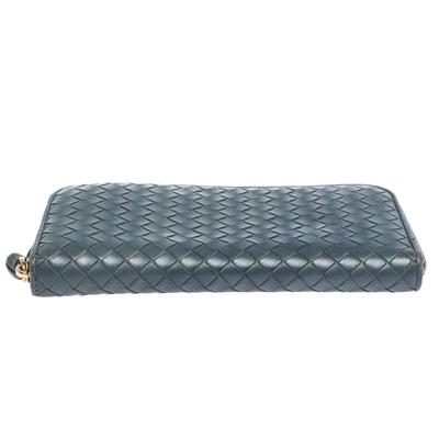 Bottega Veneta Blue Intrecciato Leather Zip Around Wallet 294751 - 5