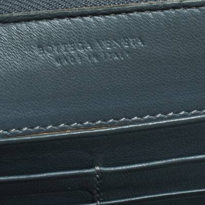 Bottega Veneta Blue Intrecciato Leather Zip Around Wallet 294751 - 7