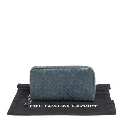Bottega Veneta Blue Intrecciato Leather Zip Around Wallet 294751 - 9