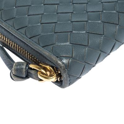 Bottega Veneta Blue Intrecciato Leather Zip Around Wallet 294751 - 10