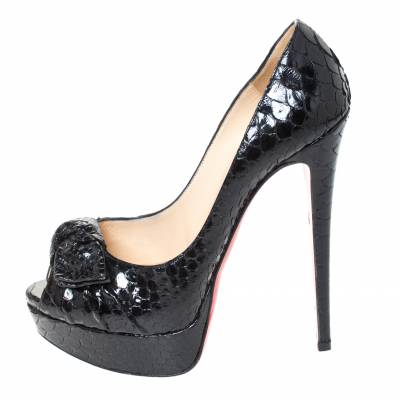 Christian Louboutin Black Python Madame Butterfly Peep Toe Pumps Size 38.5 294477 - 1