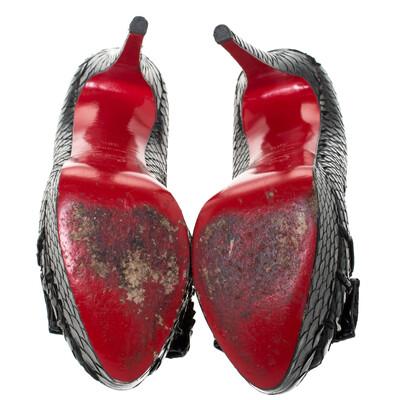 Christian Louboutin Black Python Madame Butterfly Peep Toe Pumps Size 38.5 294477 - 5