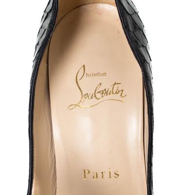 Christian Louboutin Black Python Madame Butterfly Peep Toe Pumps Size 38.5 294477 - 6