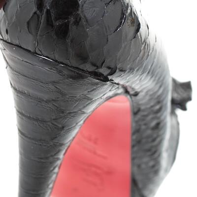 Christian Louboutin Black Python Madame Butterfly Peep Toe Pumps Size 38.5 294477 - 7