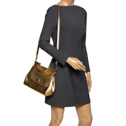 Dolce&Gabbana Metallic Gold Leather Medium Miss Sicily Top Handle Bag 292775