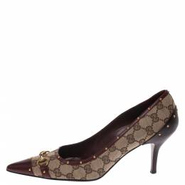 Gucci Guccissima Canvas And Brown Leather Studded Horsebit Pointed Toe Pumps Size 40 294274