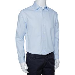 Armani Collezioni Light Blue Textured Cotton Long Sleeve Shirt L 294186