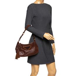 Prada Brown Leather Tassel Shoulder Bag 294187