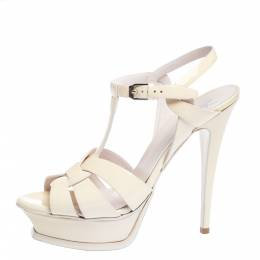 Saint Laurent Offwhite Patent Leather Tribute Ankle Strap Sandals Size 39.5 294292