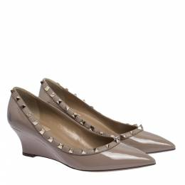 Valentino Poudre Patent Leather Rockstud Pointed Toe Wedge Pumps Size 39.5 294994