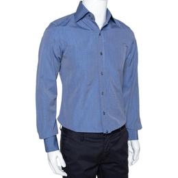 Tom Ford Dark Blue Chambray Cotton Long Sleeve Shirt M 294190