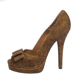Fendi Brown Deco Textured Suede Peep Toe Bow Platform Pumps Size 40 294423