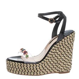 Sophia Webster Black Patent Leather and PVC Dina Crystal Studded Wedge Espadrille Platform Ankle Strap Sandals Size 39 294427