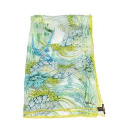 Roberto Cavalli Green Oriental Garden Print Silk Scarf 292754