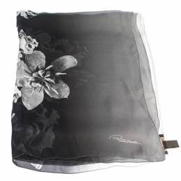 Roberto Cavalli Monochrome Floral Print Silk Scarf 292759