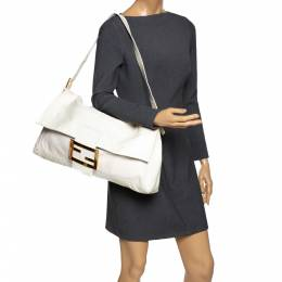 Fendi White Patent Leather Oversized Convertible Baguette Bag 293087