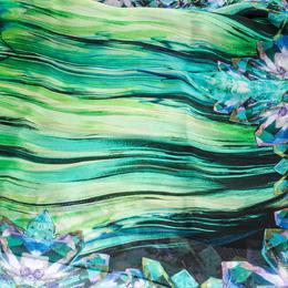 Roberto Cavalli Black Crystal Print Silk Scarf 292626