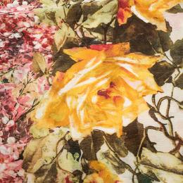 Roberto Cavalli Cream Floral Print Fringed Cashmere & Silk Scarf 292621
